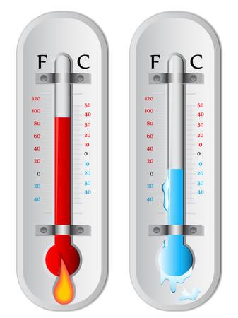 2 つの温度計は高低の温度を示します。  イラスト・ベクター素材