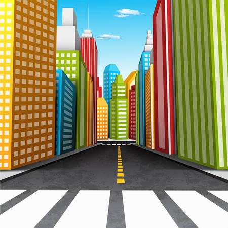 illustration of cartoon city.  Vectores