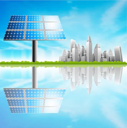 illustratie van zonnepaneel en de stad Stock Illustratie