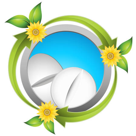 birth control: Alternative medicine concept with pills and nature symbols illustration.  Illustration