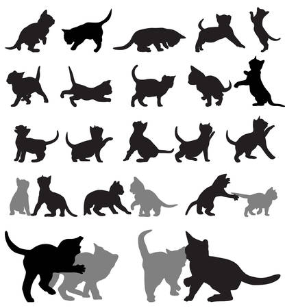set of kitten silhouettes.