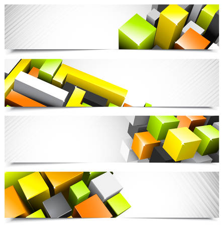 no gradient: Set of abstract colorful banners.  Illustration