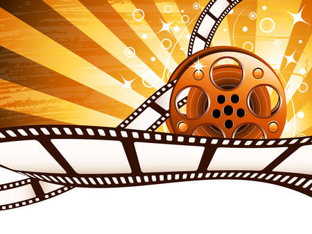 Vector illustration of cinema background with film reel.
