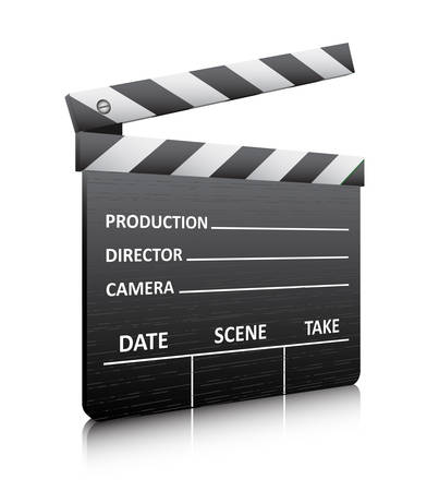 Vector illustration of clapper board isolated on white. Vector