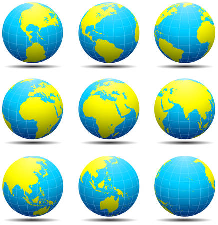 Vector illustration of globes isolated on white.  Illustration