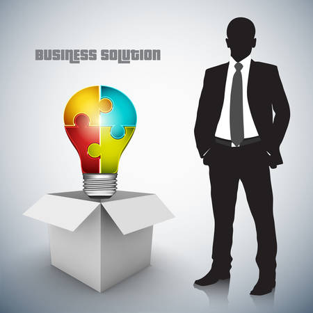 Vector illustration of business concept with businessman and bulb.  Vector