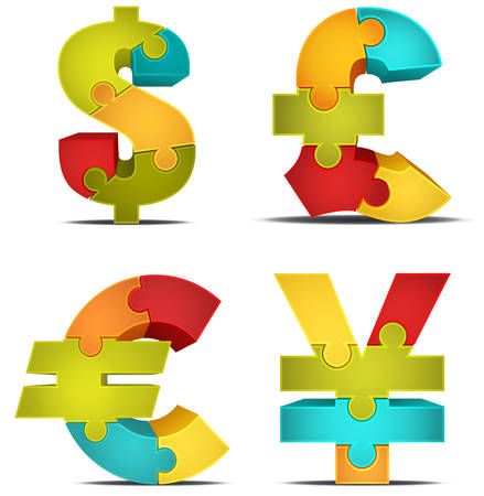 Vector illustration of different currencies made of puzzle. Vector