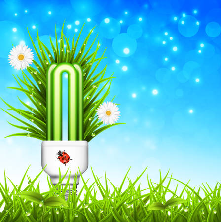 Vector illustration of spring landscape and eco bulb. Eco concept. Vector