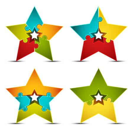Vector illustratie van de ster iconen gemaakt van puzzel. Stockfoto - 25626819