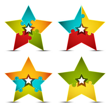 Vector illustration of star icons made of puzzle.