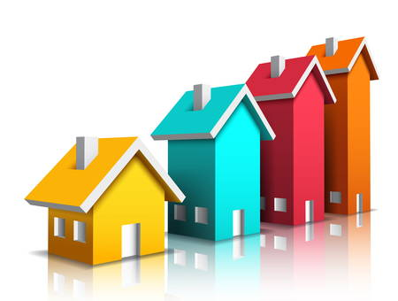 Vector illustration of colorful houses isolated on white. Vector