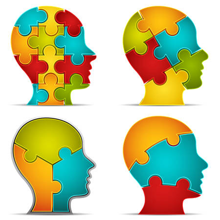 head icon: Vector illustration of human head made of puzzle.