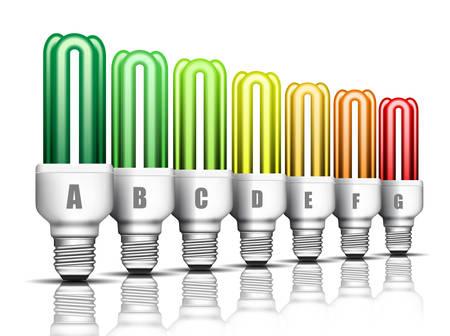 eficiencia energetica: Concepto de eficiencia de energ�a con la luz ilustraci�n bulbs.Vector. Vectores