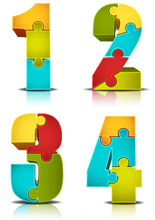Vector illustration of numbers made of puzzle. Vector