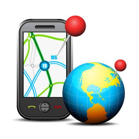 Vector illustratie van GPS over mobiel. Stockfoto - 25764237