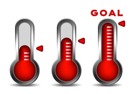 Fondsenwerving concept met thermometers. Stock Illustratie