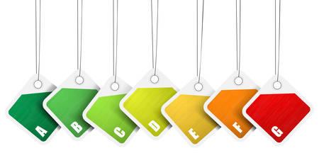 eficiencia energetica: Ilustraci�n vectorial de las etiquetas de eficiencia energ�tica.