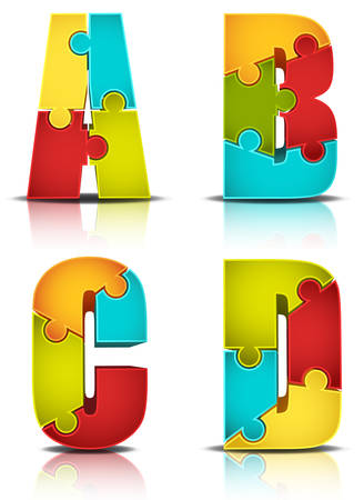 Vector illustration of letters made of puzzle. Ilustração