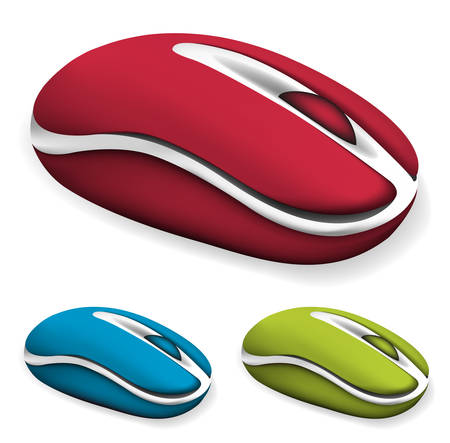 Vector set of different colored computer mouses.  Vector