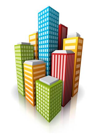 financial district: Vector illustration of cartoon city.