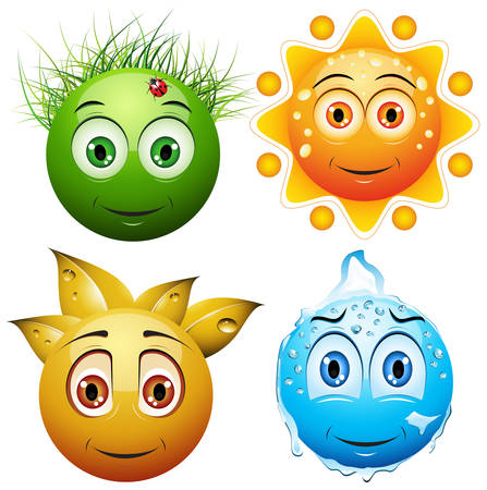 Vector illustration of four smiley faces showing four seasons. Vector