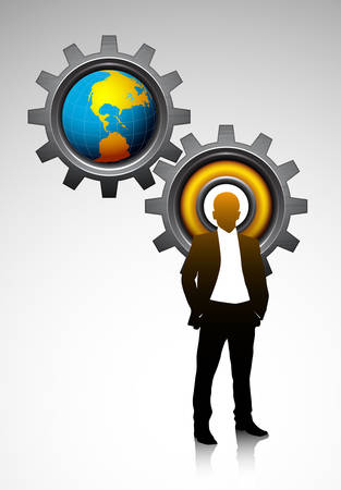 Business concept with businessman gears and globe.  Vector