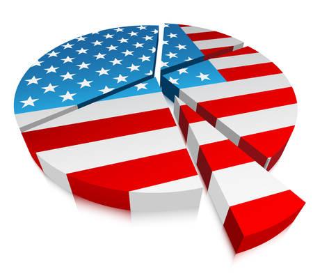 Vector illustratie van grafiek met de vlag van de VS.