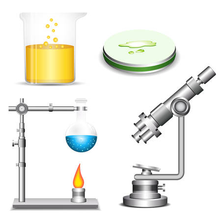 laboratory equipment: Set of laboratory equipment. Each group of elements grouped and layered separately. Easy to edit.