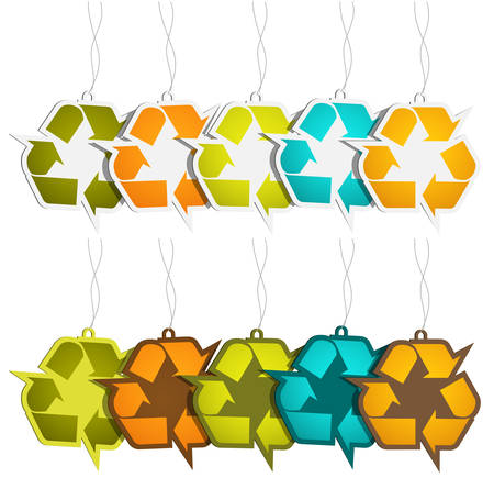 Vector illustration of recycle sign labels. Vector