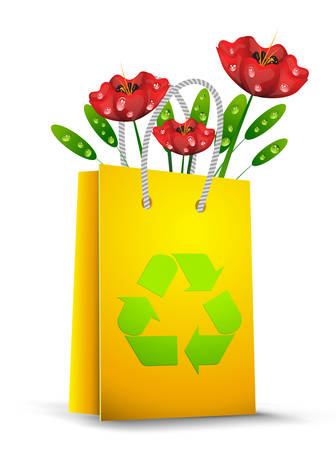 Vector illustration of shopping bag with recycle sign and plants. Vector
