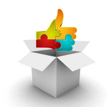 Zakelijk concept met doos en als symbool gemaakt van de puzzel. Het kan worden gebruikt voor verschillende concepten zoals winkelen, geschenken, juiste beslissing in verschillende zakelijke categorieën etc. Puzzel symboliseren kracht van verbinding tussen de verschillende onderdelen in het bedrijfsleven zijn dat u