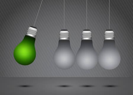 oscillation: Eco concept with light bulbs. Illustration