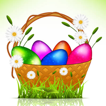 Vector illustration of Easter eggs in the basket. Vector