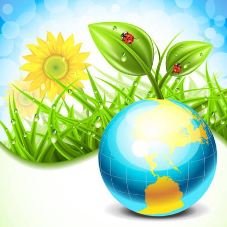 Vector illustration of spring landscape and globe. Vector
