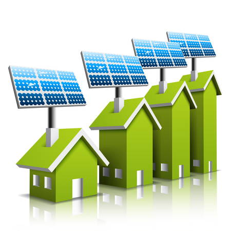 Vector illustration of Eco houses with solar panel.  Vector