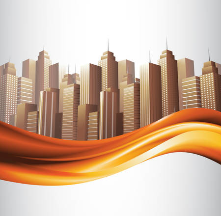 financial district: Vector illustration of city banner.