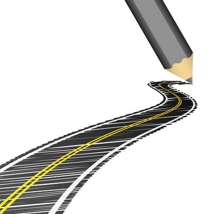 thoroughfare: Vector illustration of road drawn with crayon.