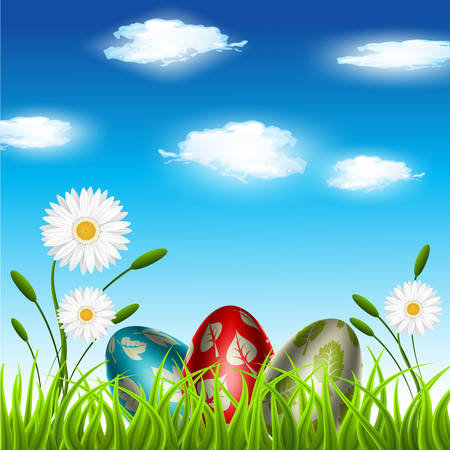 Vector illustration of Easter eggs on the meadow.  Vector