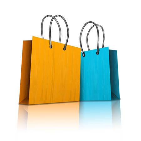 Vector illustratie van boodschappentassen op wit.