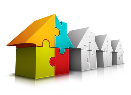 Vector illustration of houses made of puzzle. Vector