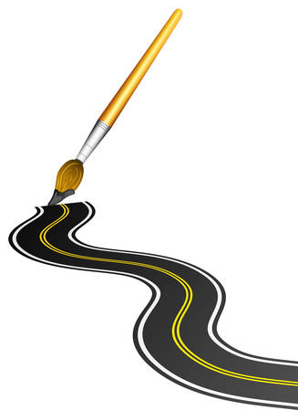 thoroughfare: Vector illustration of road painted with brush.