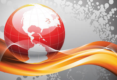 Vector illustration of globe and abstract background.