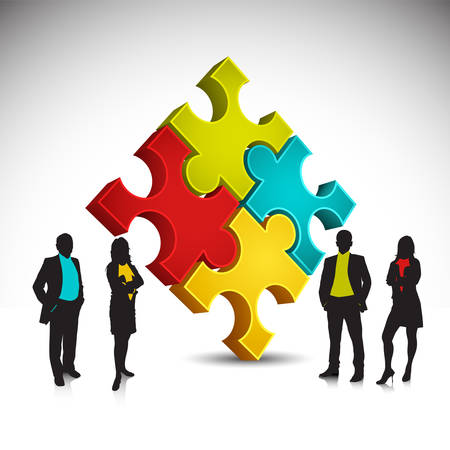 jigsaw puzzle: Business people and puzzle.Vector illustration.