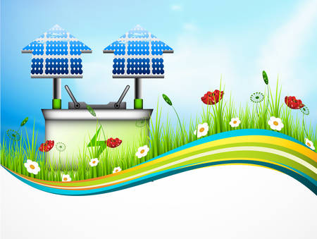 panels: Vector illustration of Eco concept with solar panels and battery.