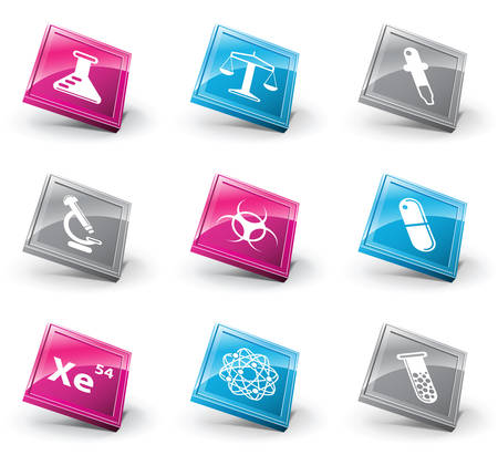 erlenmeyer:  set of chemistry and science icons.