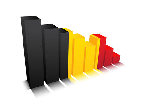 Vector illustration of graph with Belgian flag.  Vector