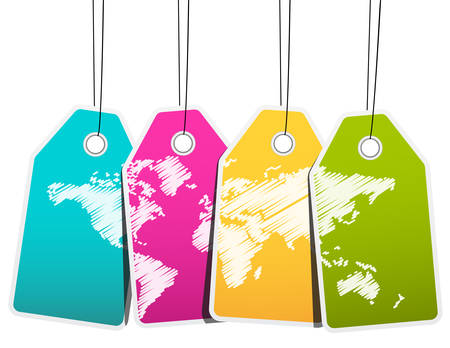 luggage tag: Vector illustration of labels with world map. Illustration