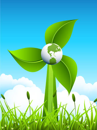 prato e cielo: Mulino a vento di foglie con il globo nel mezzo. Usiamo l'energia rinnovabile in tutto il mondo. Elementi (globo, mulino a vento, erba, cielo) sono raggruppati e stratificati. Ogni strato di nome. Nuvole sono realizzate con blend non espansa. Facile da modificare. Vettoriali