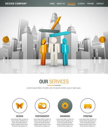 Ilustración de la plantilla sitio web para empresa de diseño. Ilustración de vector