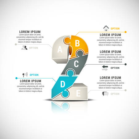 Vector illustration of infographic made of puzzle numbers.  Vector